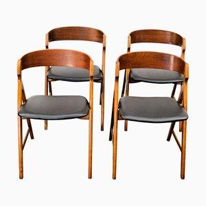 Sillas de comedor vintage de madera de Henning Kjaernulf para Boltinge Støle Møbelfabrik. Juego de 4