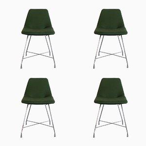 Chaises de Salon Athena en Tissu & Chrome Plaqué par Augusto Bozzi pour Saporiti Italia, 1950s, Set de 4