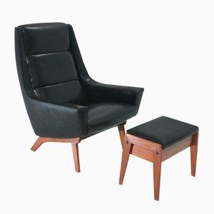 Dänischer Sessel & Hocker, 1960er