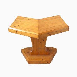 Französischer Kiefernholz Tisch/ Hocker, 1970er