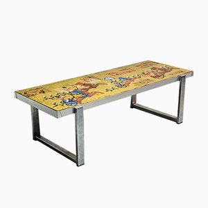 Vintage Egyptian Decorated Coffee Table by De Nisco, 1970s