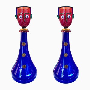 Italian Murano Glass Lamps from Fratelli Toso, 1960s, Set of 2