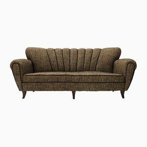 Italienisches Drei-Sitzer Sofa in Braun & Schwarz, 1950er