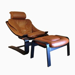 Kroken Lounge Chair & Footrest by Ake Fribytter for Nelo Möbel, 1970s