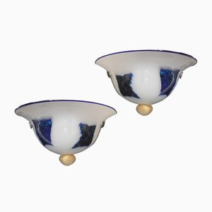 Lampade da parete in vetro di Murano blu e bianco, anni '80, set di 2