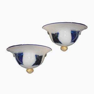 Murano Wandlampen in Weiß & Blau, 1980er, 2er Set