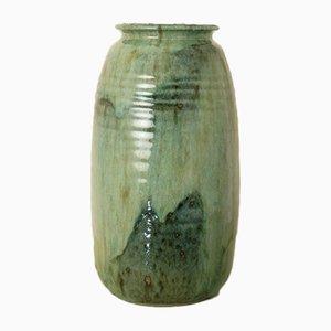 Vintage French Enameled Stoneware Vase, 1980s