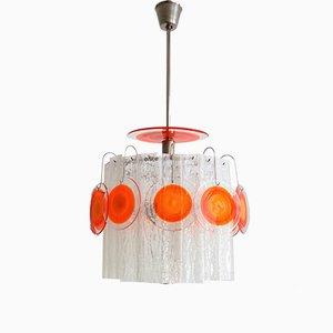 Lámpara de araña italiana de vidrio, años 70