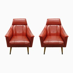 Mid-Century Red Skai Lounge Chairs, 1960s, Set of 2