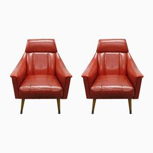 Sillones Mid-Century de escai rojo, años 60. Juego de 2