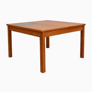 Table Basse Mid-Century en Teck avec Carreaux Bleux, 1960s