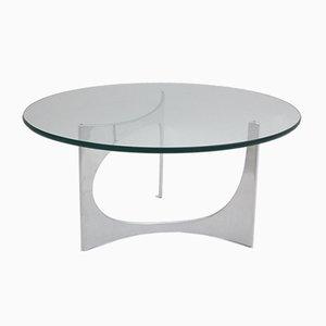 Mesa de centro alemana vintage redonda de vidrio de Knut Hesterberg, años 70
