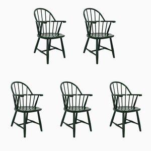 Grüne Vintage Windsor Stühle von Josef Frank für Thonet, 1920er, 5er Set