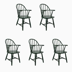 Vintage Green Windsor Armchairs by Josef Frank for Thonet, 1920s, Set of 5