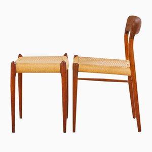Modell 75 Stühle & Modell 80A Ottomane von Niels O. Moller für J.L. Møller, 1960er, 4er Set