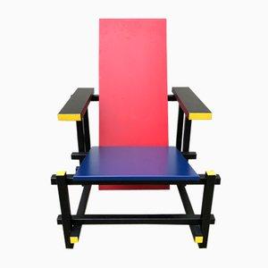 Vintage Armlehnstuhl in Rot und Blau von Gerrit Thomas Rietveld
