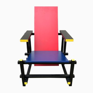Vintage Red & Blue Armchair by Gerrit Thomas Rietveld
