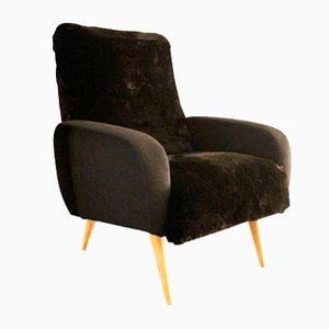 Vintage Black Faux Fur Armchair, 1950s