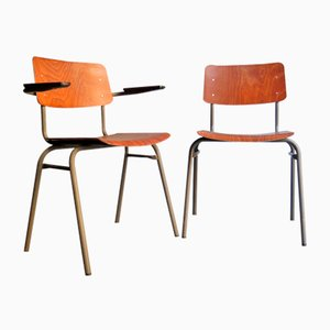 Vintage Stühle aus Holz Furnier, 2er Set