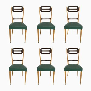 Italian Green Skai Dining Chairs, 1950s, Set of 6