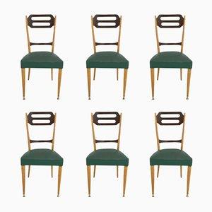 Italienische Esszimmer Stühle in Grünem Skai, 1950er, 6er Set