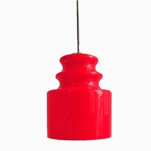 Lámpara colgante vintage en rojo de vidrio opalescente de Peill & Putzler