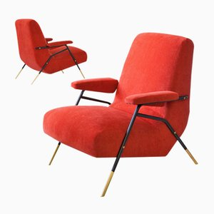 Mid-Century Italian Orange Velvet Armchairs with Iron And Brass Frame, 1950s, Set of 2