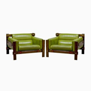 Imboya Wood Armchairs by Percival Lafer for L'atelier, 1970s, Set of 2