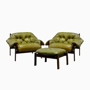 Olive Green Leather Lounge Chairs & Ottoman by Percival Lafer, 1960s