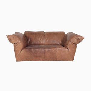 Braunes Vintage 2-Sitzer Leder Sofa von Gerard van den Berg für Montis, 1970er