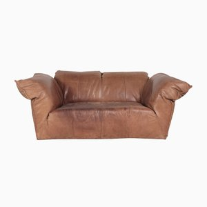Vintage Brown Leather Two-Seater Sofa by Gerard van den Berg for Montis, 1970s