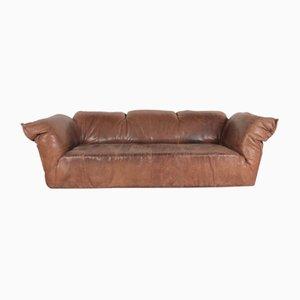 Sofá vintage de cuero marrón de Gerard van den Berg para Montis, años 70