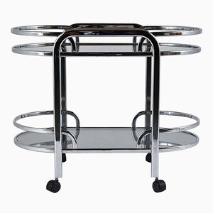 Mid-Century Modern Chrome & Glass Bar Cart