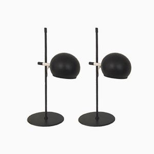 Black Matte Table Lamps from Hemi, 1960s, Set of 2