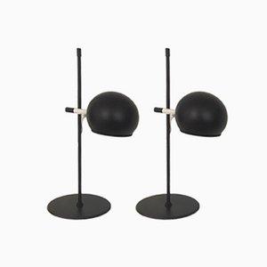 Lámparas de mesa en negro mate de Hemi, años 60. Juego de 2