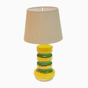 Lámpara de mesa de cerámica vidriada verde y amarilla, años 70