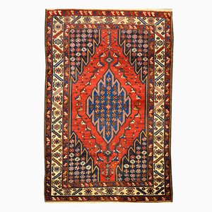Middle Eastern Red Over Blue Background Wool Sirjan Rug, 1920s