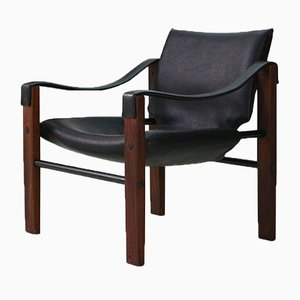 Mid-Century Teak and Faux Leather Chelsea Safari Chair by Maurice Burke for Arkana, 1960s