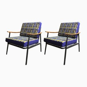 Vintage Wood & Metal Armchairs, 1960s, Set of 2