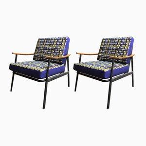 Vintage Wood & Metal Armchairs, 1960s, Set of 2