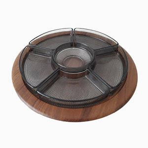 Teak Lazy Susan Swivel Tray with Holmegaard Ramekins from Digsmed, 1964