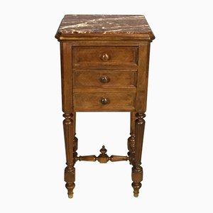 Table de Chevet Louis Philippe en Noyer, 19ème Siècle