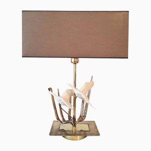 Lámpara de mesa Hollywood Regency vintage de latón con patos