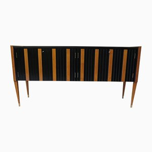 Italian Art Deco Cherry & Black Sideboard , 1940s