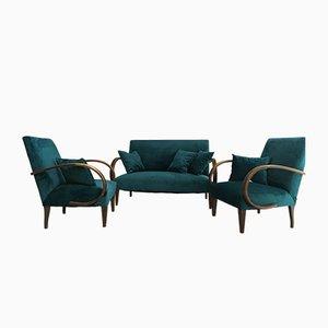 Set da salotto Art Deco in legno e velluto blu di Jindrich Halabala