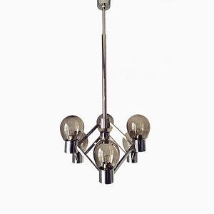 6-Light Chandelier in Chrome & Amber Smoked Glass, 1970s