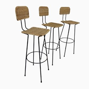 Rattan Bar Stools, 1960s, Set of 3