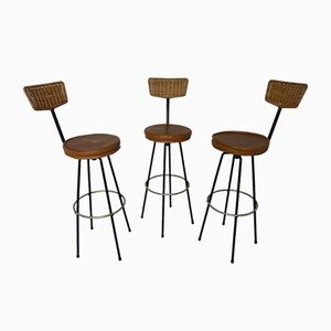 Sgabelli bar girevoli in vimini, anni '60, set di 3