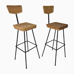 Rattan Bar Stools, 1960s, Set of 2