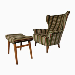 Wingback Chair & Ottoman, 1950s